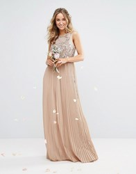 Maya High Neck Maxi Dress With Tonal Embellishment And Pleated Skirt Mink Brown