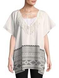 Lord And Taylor Graphic Cotton Tunic White