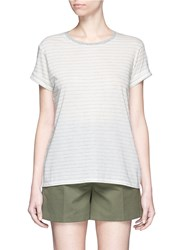 Vince Speed Stitch Stripe Rolled Sleeve T Shirt White