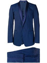 Dolce And Gabbana Silk Trimmed Suit Blue