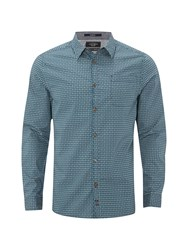 White Stuff Men's Gig Geo Print Long Sleeve Shirt Green