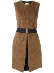 Erika Cavallini Sleeveless Coat Nude And Neutrals