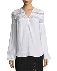 Nanette Lepore Long Sleeve Embroidered Lace Peasant Top White