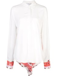 Derek Lam 10 Crosby Long Sleeve Button Down Shirt With Contrast Back White
