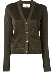 Allude V Neck Cardigan Brown