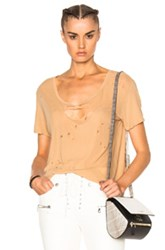 Unravel Destroyed Jersey Basic Tee In Neutrals