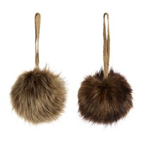 Amara Furry Baubles Set Of 2 Brown