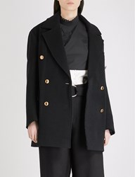Moandco. Double Breasted Wool Blend Coat Black