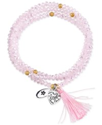 Unwritten 'Love Amore' Pink Beaded Wrap Tassel Bracelet With Silver Plated Brass Accents