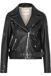 Sandy Liang Astro Delancey Embroidered Textured Leather Biker Jacket Black
