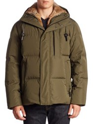 Andrew Marc New York Ascent Hooded Faux Fur Parka Forest