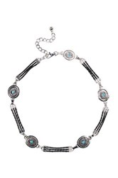 Fashion Focus Accessories Turquoise Stone And Faux Leather Chain Belt Black