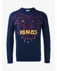 Kenzo Tiger Embroidered Wool Jumper Navy Pink Yellow Red Black Denim Multi Colou