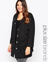 Brave Soul Plus Coat With Pocket Detail Black