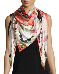 St. Piece Chloris Floral Print Square Silk Scarf Red