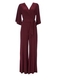 Wallis Port Flare Sleeve Jumpsuit Wine