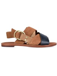 Derek Lam 10 Crosby Criss Cross Strap Sandals Brown