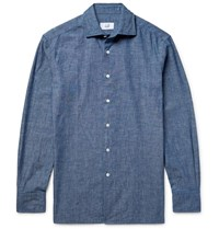 Dunhill Cotton Chambray Shirt Blue