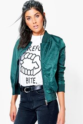 Boohoo Bomber With Contrast Lining Teal