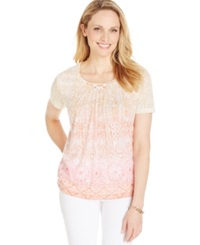 Alfred Dunner Scoop Neck Tribal Print Tee Cantaloupe