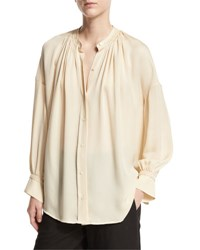 Vince Shirred Handstitch Silk Blouse White