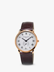 Frederique Constant Fc 235M4s4 'S Slimline Leather Strap Watch Brown White