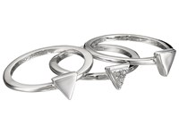 French Connection Mini Stone Set Triangle Ring Set Rhodium Clear Stone Ring Silver