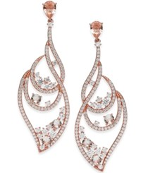 Danori Crystal Cluster And Pave Wavy Drop Earrings Created For Macy's Rose Gold
