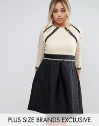 Little Mistress Plus 2 In 1 Lace Skater Dress With Contrast Skirt Multi