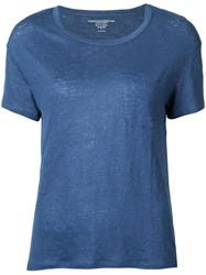 Majestic Filatures Patch Pocket T Shirt Women Linen Flax Spandex Elastane 2 Blue
