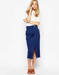 The Laden Showroom X Even Vintage High Waisted Wrap Denim Skirt With Pearl Button Indigo