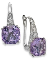 Macy's Amethyst 5 3 4 Ct. T.W. And Diamond Accent Leverback Earrings In 14K White Gold
