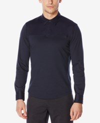 Perry Ellis Men's One Button Long Sleeve Polo Dark Sapphire