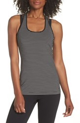 Brooks 'Go To' Racerback Tank White Black Stripe White