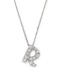 Bloomingdale's Diamond Initial R Pendant Necklace In 14K White Gold .16 Ct. T.W.