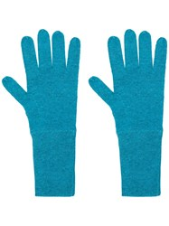 Allude Knit Gloves Blue