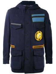 Fendi Military Jacket Men Cotton Nylon Polyamide Wool 46 Blue