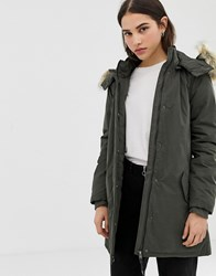 Only Sarah Parka Coat With Faux Fur Hood Green