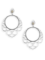 John Hardy Naga 18K Yellow Gold And Sterling Silver Lace Hoop Drop Earrings 1.75 Silver Gold