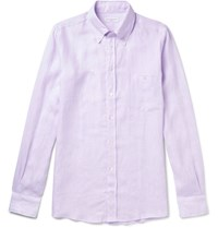 Richard James Button Down Collar Slub Linen Shirt Purple