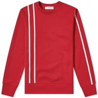 Helmut Lang Stripe Crew Sweat Red