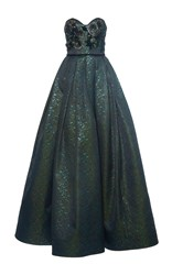 Andrew Gn Embellished Strapless Gown Green