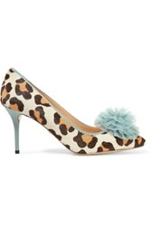 Charlotte Olympia Desiree Leather Trimmed Leopard Print Pony Hair Pumps Leopard Print
