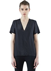 Ilaria Nistri Short Sleeved Silk Blend T Shirt Black