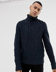 Pier One Cable Knit Jumper With Roll Neck In Blue