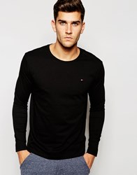 Tommy Hilfiger Flag Long Sleeve Top In Organic Cotton In Muscle Fit Black