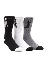 Stussy 3 Pack Stock Socks In Black White Stock Socks In Black Stock Socks