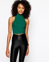 American Apparel High Neck Crop Top Green
