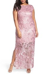 Brianna Plus Size Women's Sequin Lace Column Gown Dusty Rose