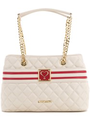 Love Moschino Quilted Logo Tote Women Polyurethane One Size White